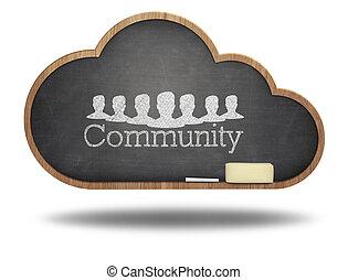 quadro-negro, conceito, palavra, nuvem, comunidade