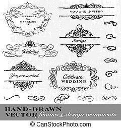 quadro, ornamento, mão, vetorial, desenhado, set.