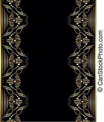 quadro, ornamento, ouro