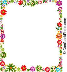 quadro, padrão, borda, floral