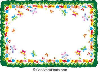 quadro, primavera, ilustração, vetorial