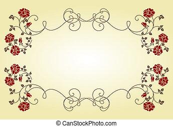 quadro, roses., retro