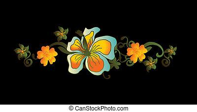 quadro, vetorial, arte, flor, paraisos