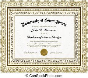 quadro, vetorial, diploma, ornate