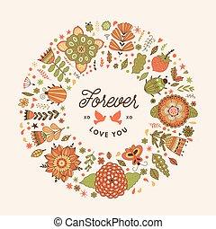 quadro, vetorial, grinalda, feito, círculo, flowers.