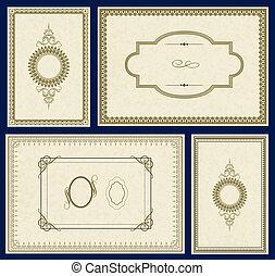 quadro, vetorial, jogo, ouro, ornate