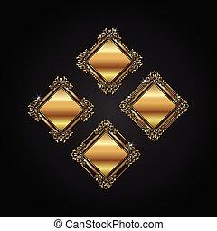 quadro, vetorial, luxo, ouro