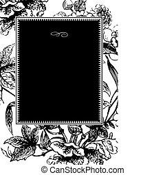 quadro, vetorial, pretas, flor