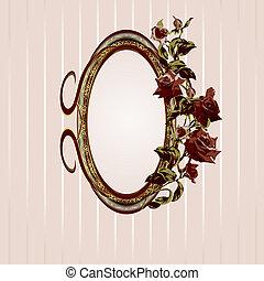 quadro, vindima, rosas, floral