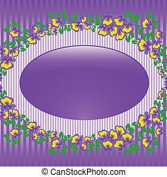 quadro, violetas, oval