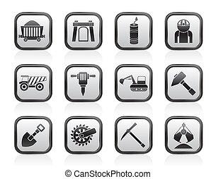 quarrying, mineração, indústria, ícones