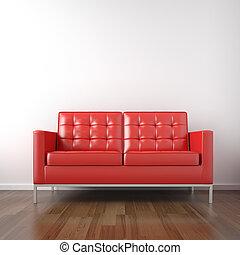 quarto branco, vermelho, sofá