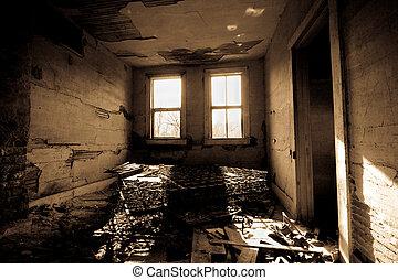quarto escuro, trashed