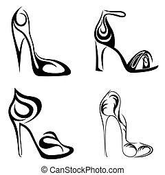 quatro, abstratos, jogo, sapatos, femininas