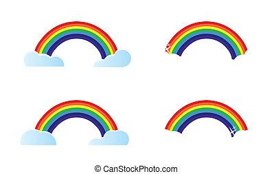 quatro, arco íris, diferente, opções