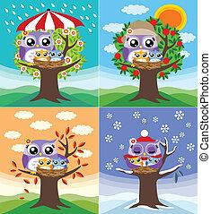 quatro, corujas, estações