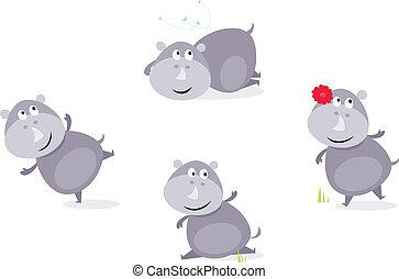 quatro, cute, poses, rinoceronte, feliz