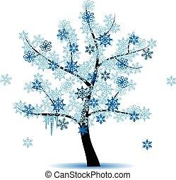 quatro, estação, -, árvore inverno