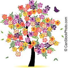 quatro, estação, -, árvore, primavera