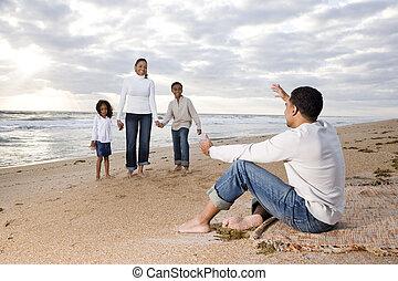 quatro, feliz, praia, família, africano-americano