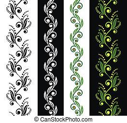 quatro, floral, seamless, padrões