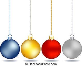 quatro, jogo, ornamentos natal, penduradas