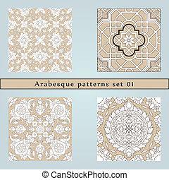 quatro, padrão, jogo, seamless, arabesco