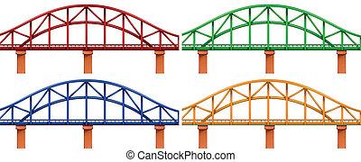 quatro, pontes, coloridos