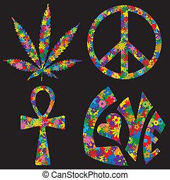 quatro, símbolos, flor, enchido, 60s
