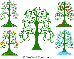 quatro, sazonal, árvore