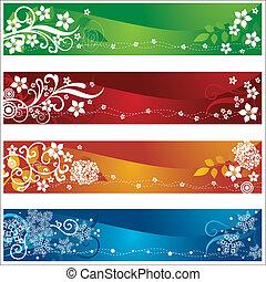 quatro, sazonal, bandeiras, flores