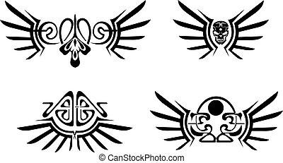 quatro, tribal, jogo, tattoos., asas