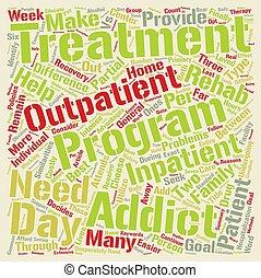que, conceito, palavra, rehab, texto, outpatient, droga, inpatient, s, vs, fundo, diferença, nuvem