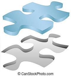 quebra-cabeça, jigsaw, crises, buraco, pedaço, branca