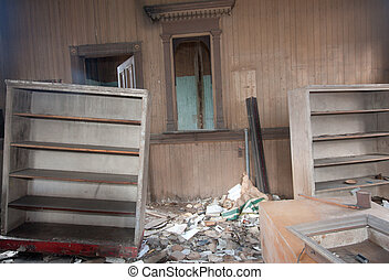 quebrada, sala, trashed, mobília