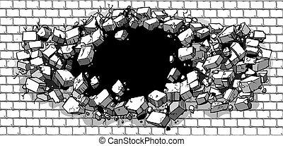quebrar, parede, tijolo, buraco, através
