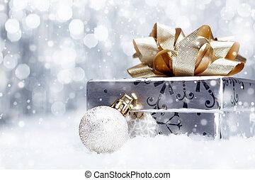 queda, neve, presente, natal