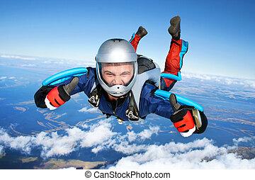 quedas, através, skydiver, ar