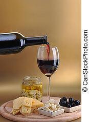 queijo, garrafa, vinho