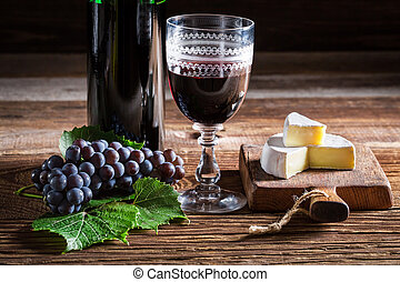 queijo, gostoso, vinho tinto