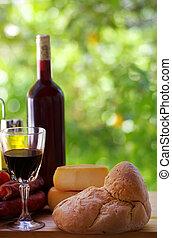 queijo, português, pão, carne, vinho tinto