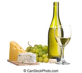 queijo, vinho, ainda-vida