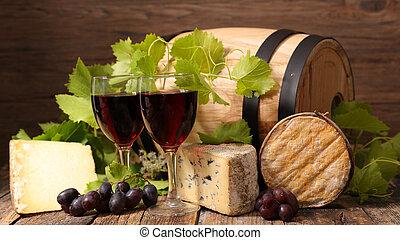 queijo, vinho tinto