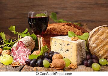 queijo, vinho, vermelho, salame