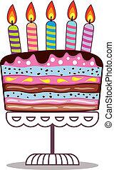 queimadura, velas, aniversário, vetorial, levantar, bolo