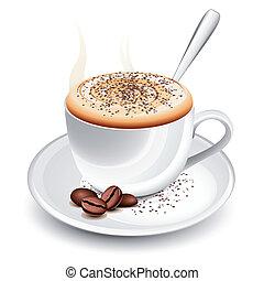 quentes, cappuccino, copo