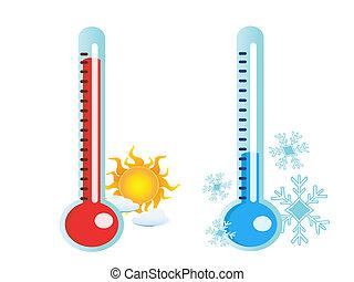 quentes, gelado, temperatura, termômetro