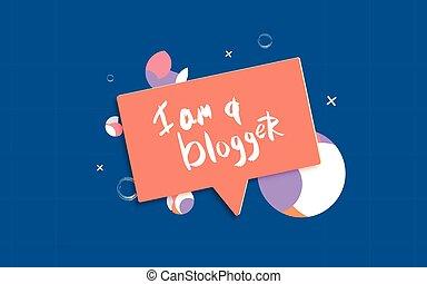 quote., blogger, mão, vetorial, illustration., mídia, networks., social, lettering