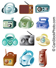 rádio, caricatura, ícone