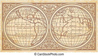 réplica, vetorial, antigas, mapa